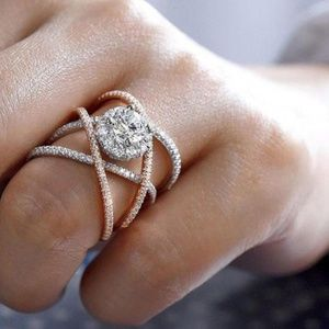 NEW Two Tone Sterling Silver Diamond Infinity Ring